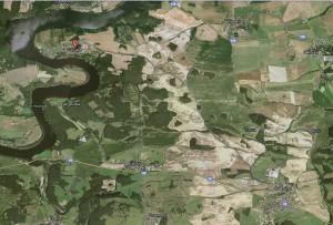 Satelitní mapa s polohou Zvírotic (zdroj Google Maps)